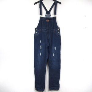 Distressed Jean Overalls Blue Wash